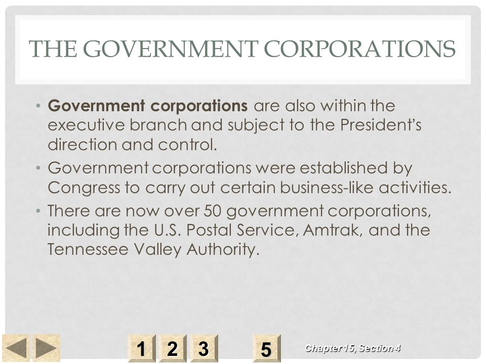 THE GOVERNMENT CORPORATIONS Government corporations are also within the executive branch and subject to the President ' s direction and control.