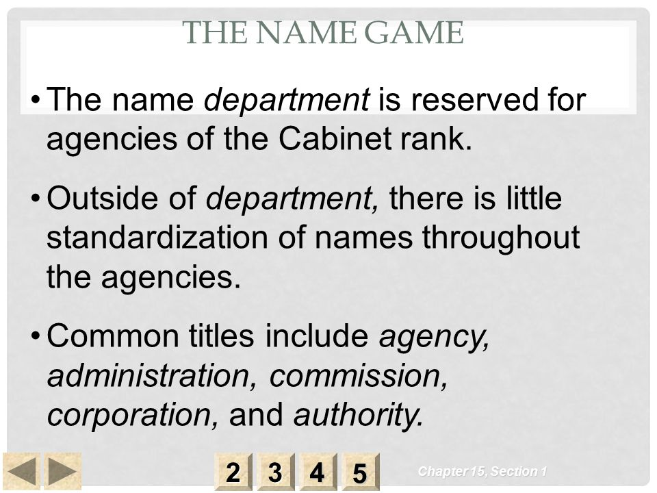 THE NAME GAME Chapter 15, Section 1 2222 3333 4444 5555 The name department is reserved for agencies of the Cabinet rank. Outside of department, there