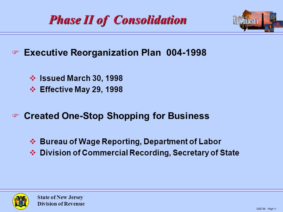 00527/98 -Page 11 State of New Jersey Division of Revenue Phase II of Consolidation F Executive Reorganization Plan 004-1998 vIssued March 30, 1998 vEffective May 29, 1998 F Created One-Stop Shopping for Business vBureau of Wage Reporting, Department of Labor vDivision of Commercial Recording, Secretary of State