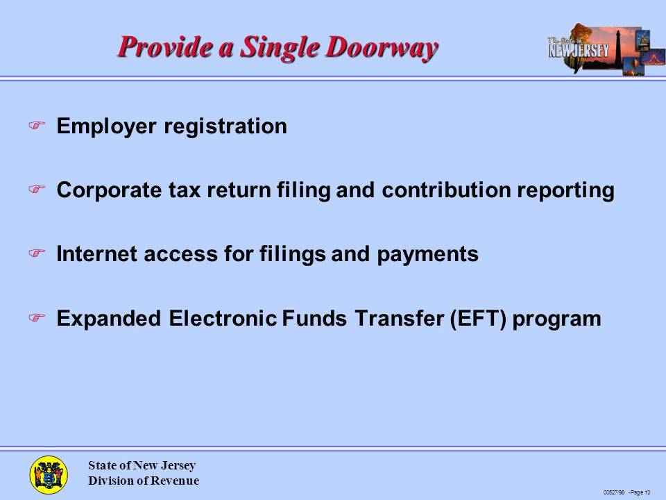 00527/98 -Page 13 State of New Jersey Division of Revenue Provide a Single Doorway F Employer registration F Corporate tax return filing and contribution reporting F Internet access for filings and payments F Expanded Electronic Funds Transfer (EFT) program