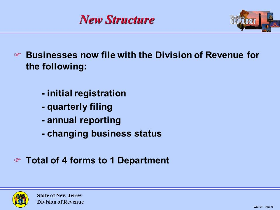 00527/98 -Page 15 State of New Jersey Division of Revenue New Structure F Businesses now file with the Division of Revenue for the following: - initial registration - quarterly filing - annual reporting - changing business status F Total of 4 forms to 1 Department