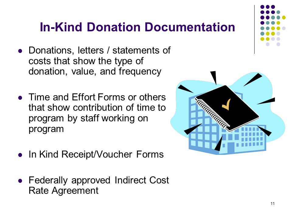 11 In-Kind Donation Documentation Donations, letters / statements of costs that show the type of donation, value, and frequency Time and Effort Forms