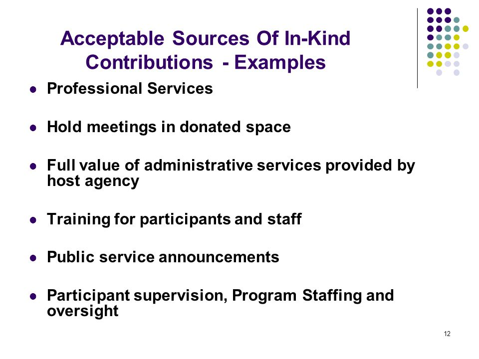 12 Professional Services Hold meetings in donated space Full value of administrative services provided by host agency Training for participants and st