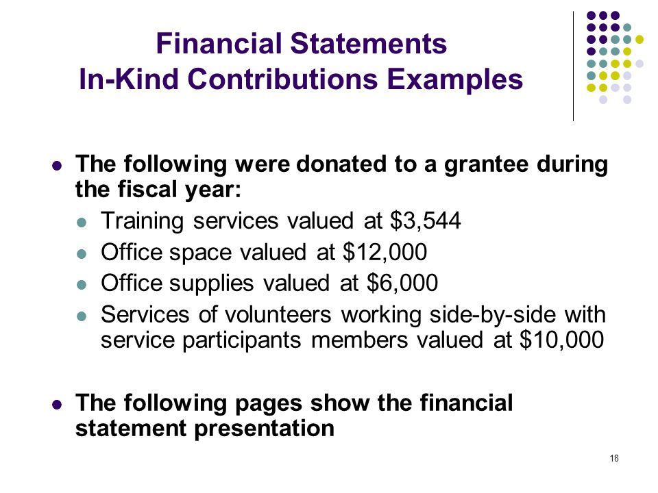 18 Financial Statements In-Kind Contributions Examples The following were donated to a grantee during the fiscal year: Training services valued at $3,