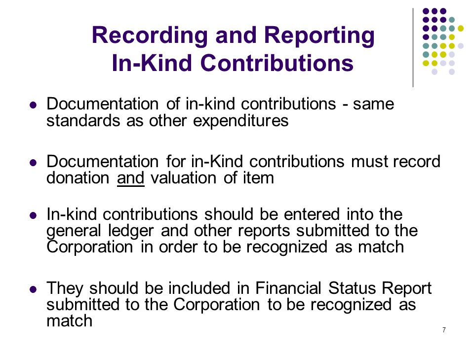 7 Recording and Reporting In-Kind Contributions Documentation of in-kind contributions - same standards as other expenditures Documentation for in-Kin
