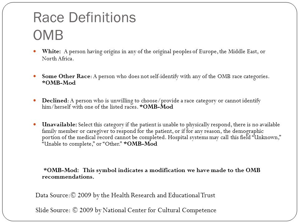 Race Definitions OMB White: A person having origins in any of the original peoples of Europe, the Middle East, or North Africa.