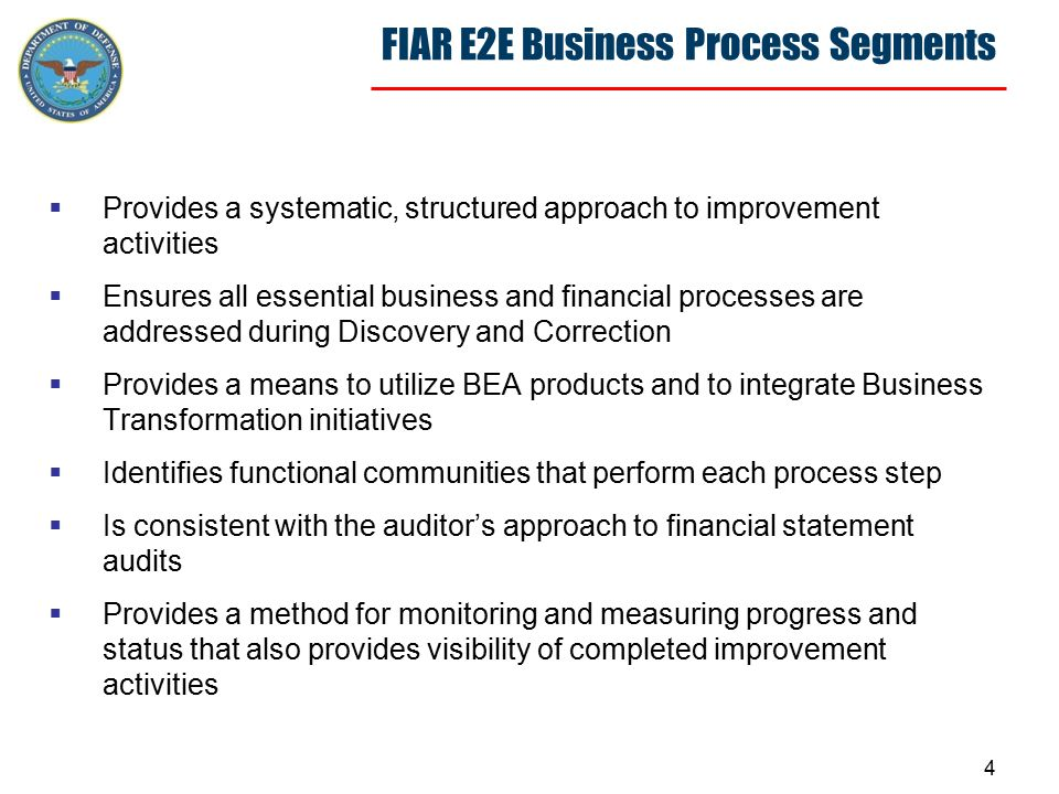4 FIAR E2E Business Process Segments  Provides a systematic, structured approach to improvement activities  Ensures all essential business and financial processes are addressed during Discovery and Correction  Provides a means to utilize BEA products and to integrate Business Transformation initiatives  Identifies functional communities that perform each process step  Is consistent with the auditor's approach to financial statement audits  Provides a method for monitoring and measuring progress and status that also provides visibility of completed improvement activities