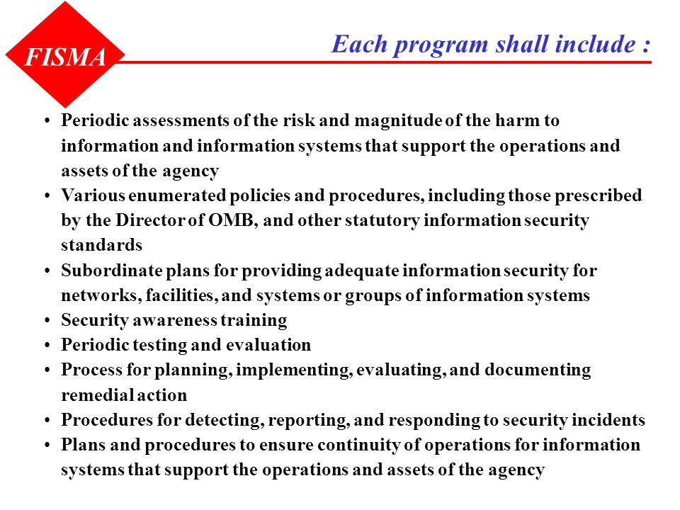 Each program shall include : FISMA Periodic assessments of the risk and magnitude of the harm to information and information systems that support the