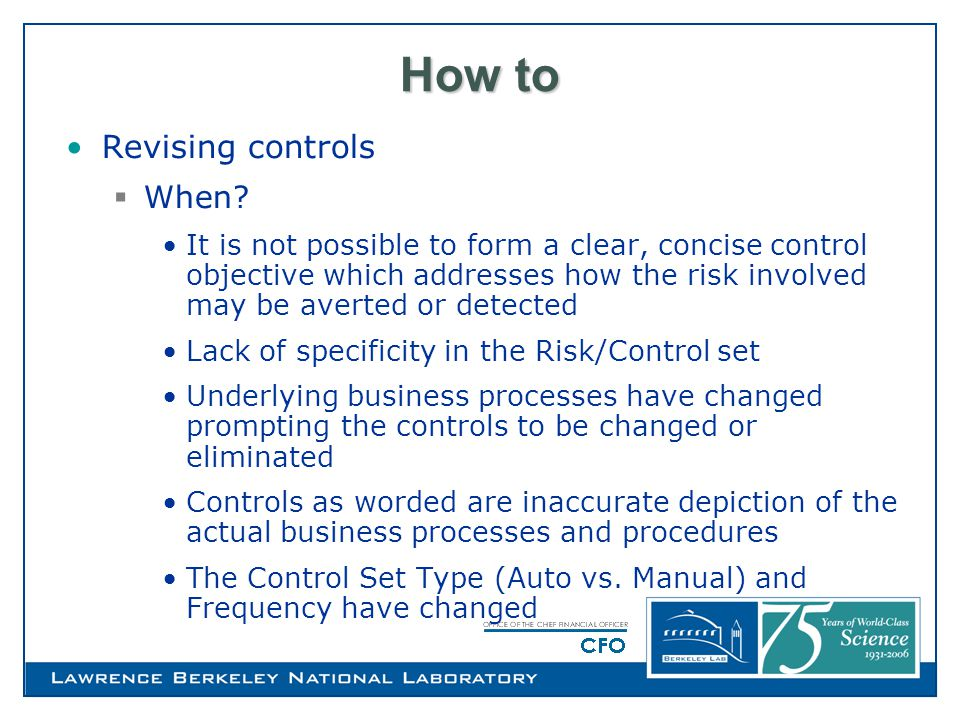 How to Revising controls  When.