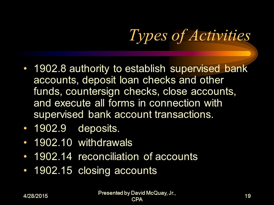4/28/2015 Presented by David McQuay, Jr., CPA 18 What Is the Criteria? (3) The grantee receives no compensation in the way of profit or overhead for t