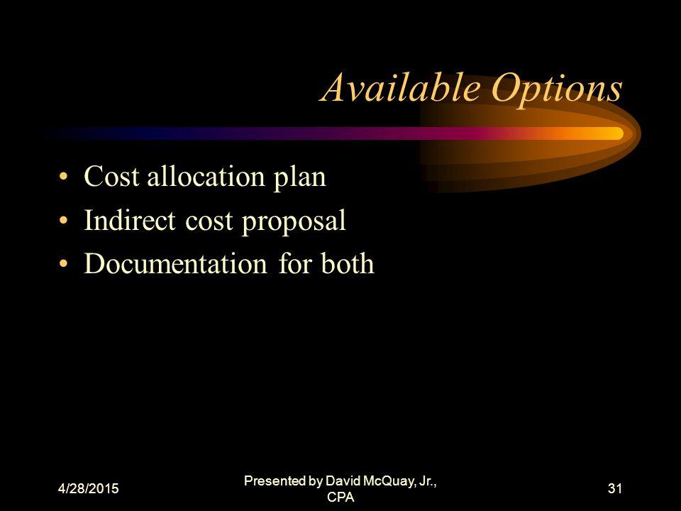 4/28/2015 Presented by David McQuay, Jr., CPA 30 Definitions