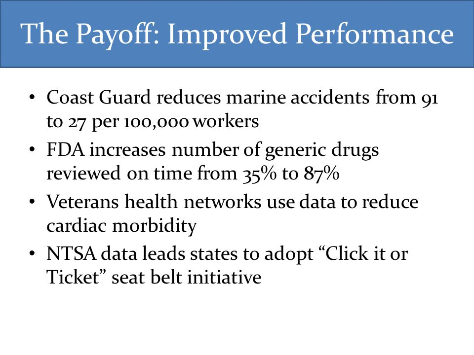 The Payoff: Improved Performance Coast Guard reduces marine accidents from 91 to 27 per 100,000 workers FDA increases number of generic drugs reviewed on time from 35% to 87% Veterans health networks use data to reduce cardiac morbidity NTSA data leads states to adopt Click it or Ticket seat belt initiative