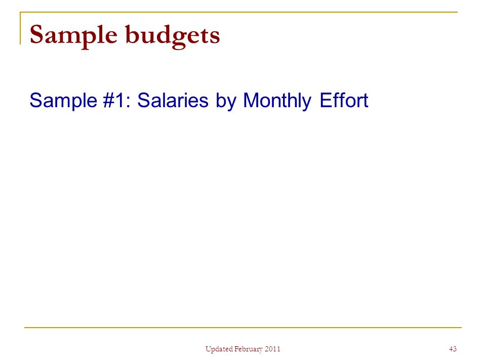 43 Sample budgets Sample #1: Salaries by Monthly Effort Updated February 2011