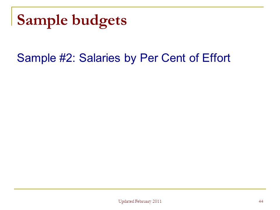 44 Sample budgets Sample #2: Salaries by Per Cent of Effort Updated February 2011