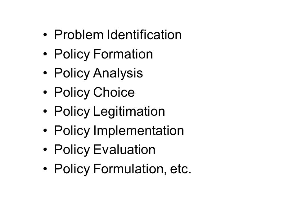 Problem Identification Policy Formation Policy Analysis Policy Choice Policy Legitimation Policy Implementation Policy Evaluation Policy Formulation, etc.