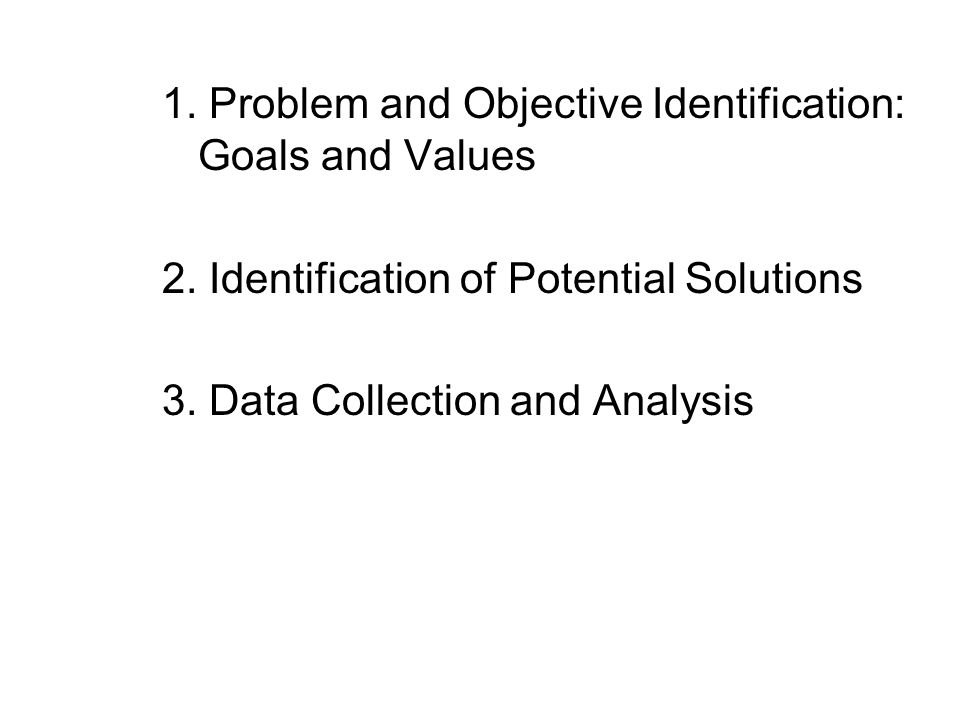1. Problem and Objective Identification: Goals and Values 2.