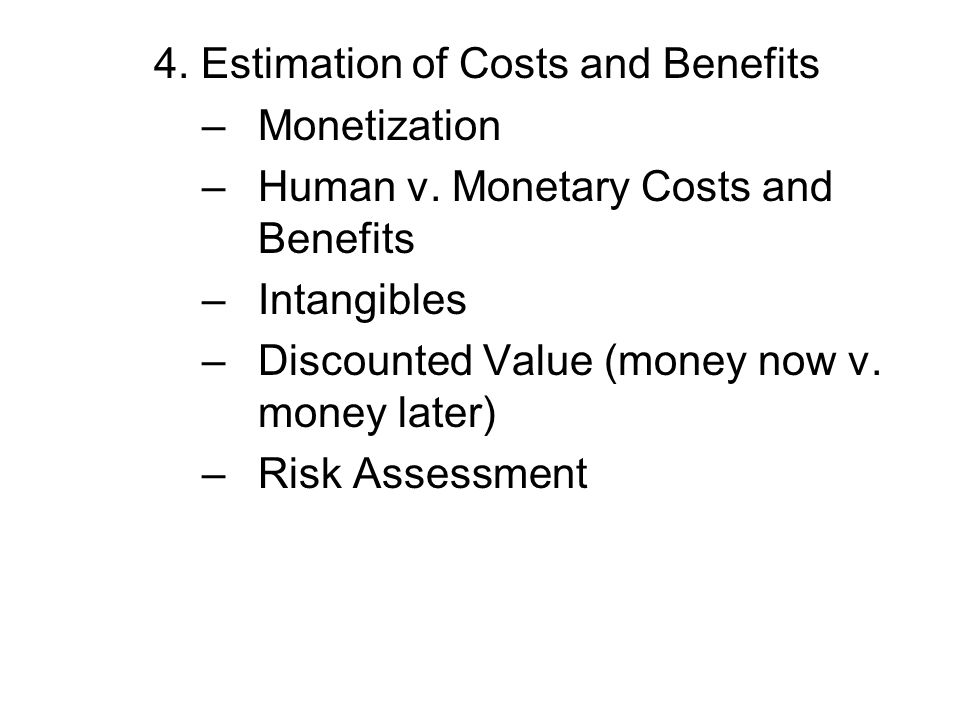 Monetizing these benefits Uninformed demand: assumes that people do not consider the accident, health and productivity costs of drinking Informed demand: people take into consideration these costs and adjust for them, willingly, with lower wages, higher insurance premiums, paying for damages, etc.