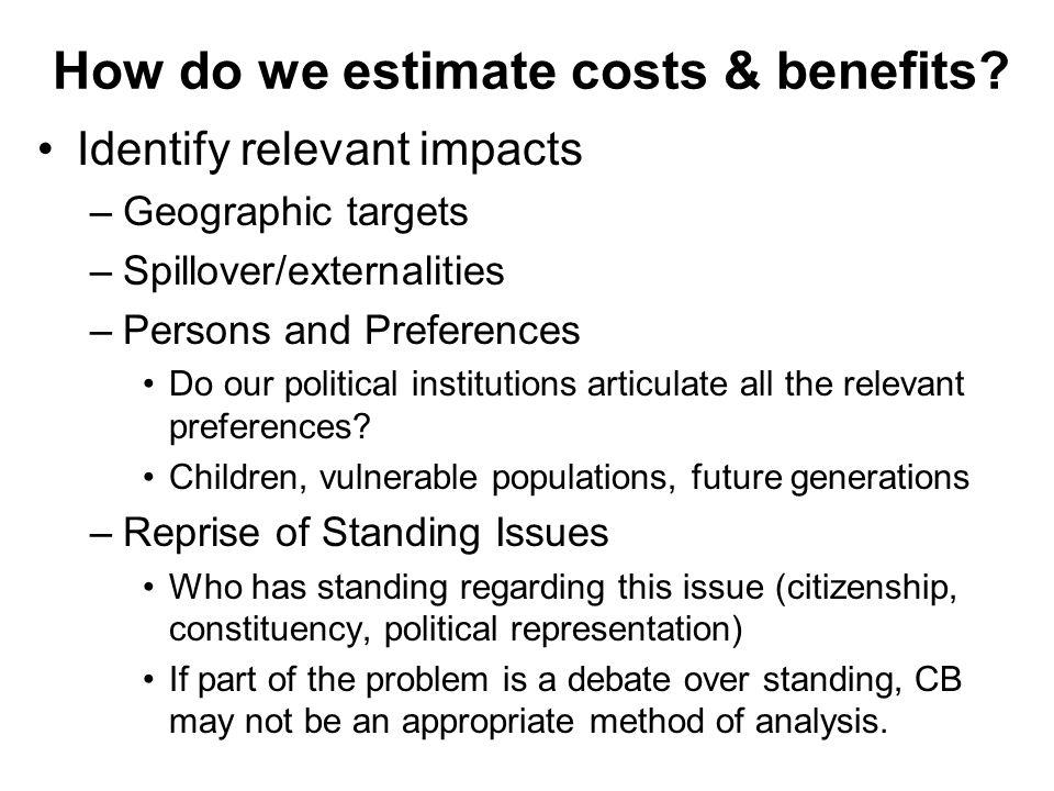 How do we estimate costs & benefits.