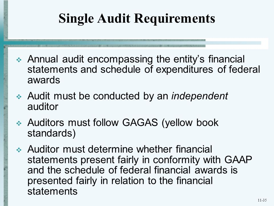 11-35  Annual audit encompassing the entity's financial statements and schedule of expenditures of federal awards  Audit must be conducted by an ind