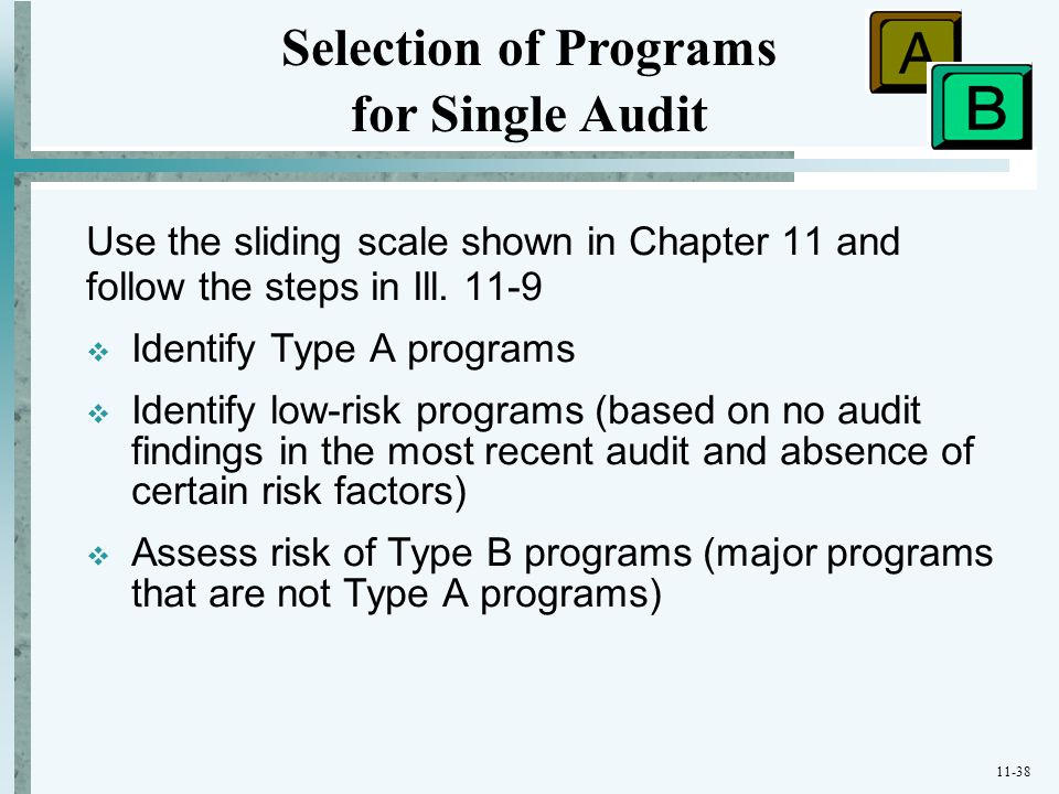11-38 Use the sliding scale shown in Chapter 11 and follow the steps in Ill. 11-9  Identify Type A programs  Identify low-risk programs (based on no
