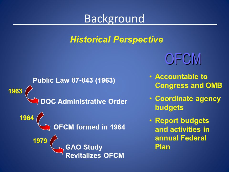 Public Law 87-843 (1963) DOC Administrative Order OFCM formed in 1964 1963 1964 Accountable to Congress and OMB Coordinate agency budgets Report budge