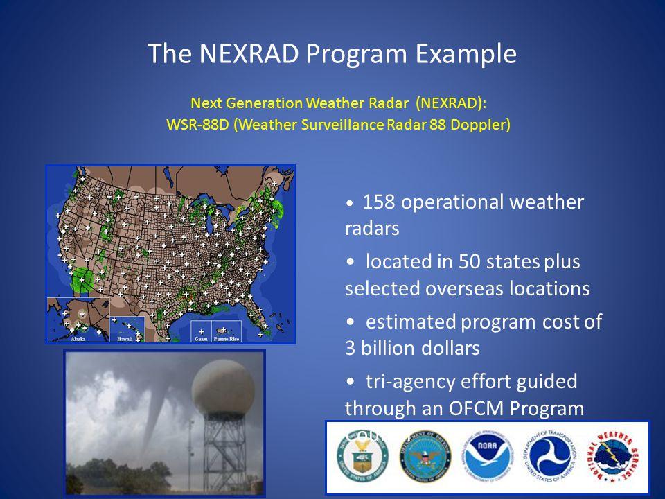 Next Generation Weather Radar (NEXRAD): WSR-88D (Weather Surveillance Radar 88 Doppler) The NEXRAD Program Example 158 operational weather radars loca