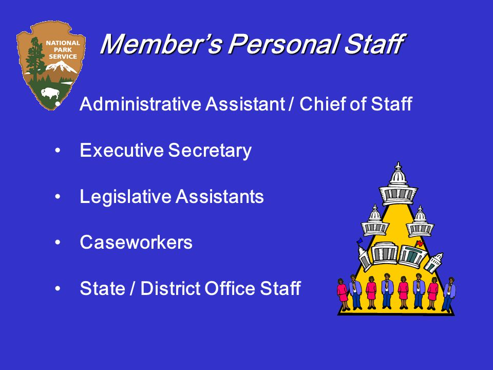 Member's Personal Staff Administrative Assistant / Chief of Staff Executive Secretary Legislative Assistants Caseworkers State / District Office Staff