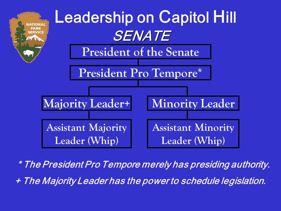 SENATE President of the Senate President Pro Tempore* Majority Leader+Minority Leader Assistant Majority Leader (Whip) Assistant Minority Leader (Whip) * The President Pro Tempore merely has presiding authority.