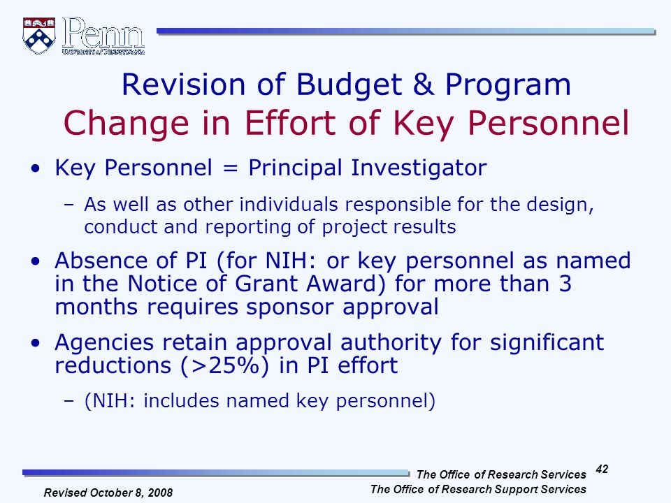The Office of Research Services The Office of Research Support Services 41 Revised October 8, 2008 Subpart C: Post-Award Requirements Revision of Budget & Program Pre-Award Costs Extensions Carryover Property & Procurement Standards Cost Sharing Program Income Progress Reporting Financial Reporting Record Retention It is within Subpart C that the OMB allows for many of the privileges that are associated with grants under the Federal Demonstration Partnership (FDP).