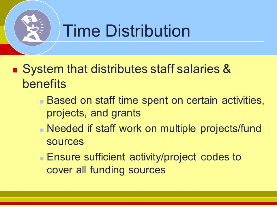 Time Distribution System that distributes staff salaries & benefits Based on staff time spent on certain activities, projects, and grants Needed if st