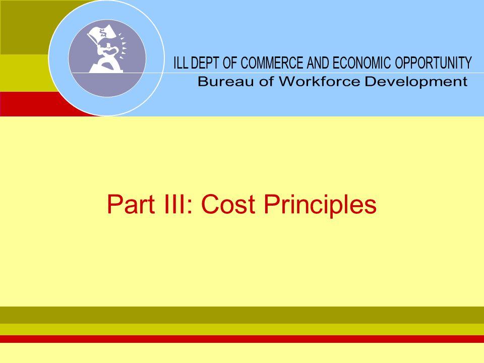 Part III: Cost Principles