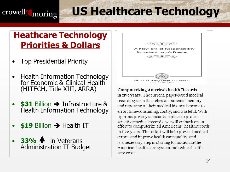 14 US Healthcare Technology Heathcare Technology Priorities & Dollars Top Presidential Priority Health Information Technology for Economic & Clinical Health (HITECH, Title XIII, ARRA) $31 Billion  Infrastructure & Health Information Technology $19 Billion  Health IT 33% in Veterans Administration IT Budget Computerizing America's health Records in five years.