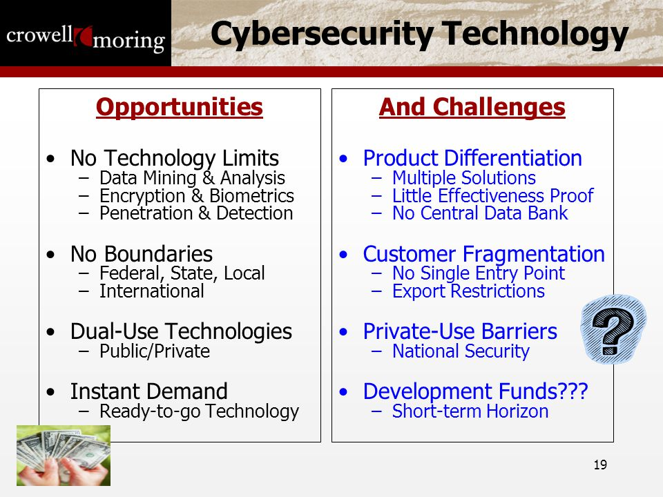 19 Cybersecurity Technology Opportunities No Technology Limits –Data Mining & Analysis –Encryption & Biometrics –Penetration & Detection No Boundaries –Federal, State, Local –International Dual-Use Technologies –Public/Private Instant Demand –Ready-to-go Technology And Challenges Product Differentiation –Multiple Solutions –Little Effectiveness Proof –No Central Data Bank Customer Fragmentation –No Single Entry Point –Export Restrictions Private-Use Barriers –National Security Development Funds .