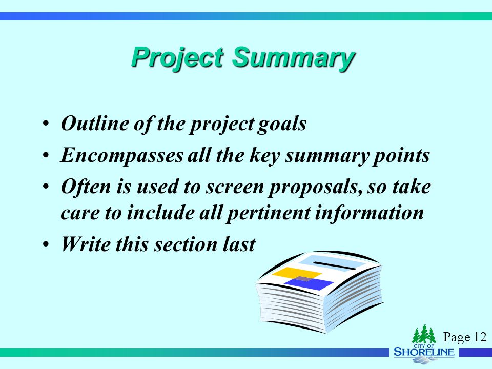 Page 12 Project Summary Outline of the project goals Encompasses all the key summary points Often is used to screen proposals, so take care to include
