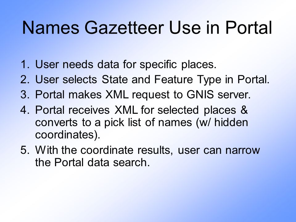 Names Gazetteer Use in Portal 1.User needs data for specific places.