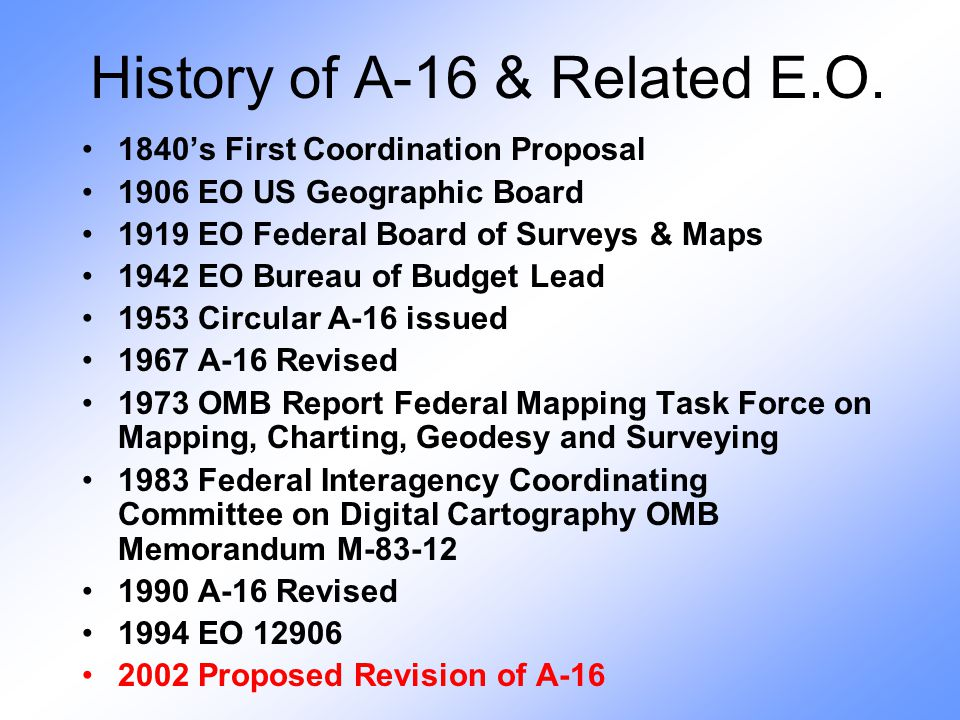 History of A-16 & Related E.O.