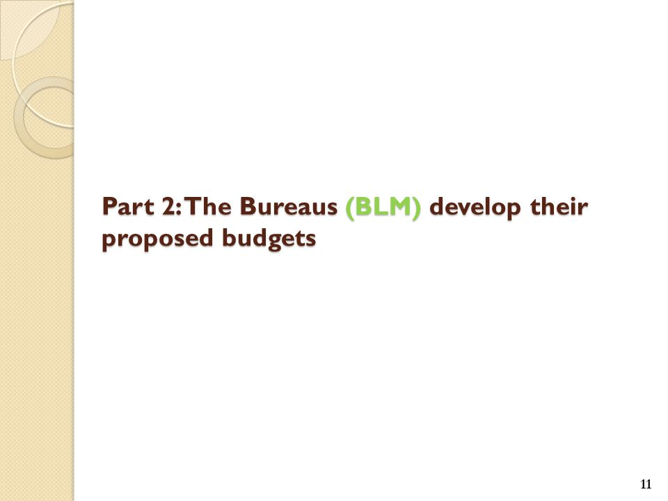 11 Part 2: The Bureaus (BLM) develop their proposed budgets
