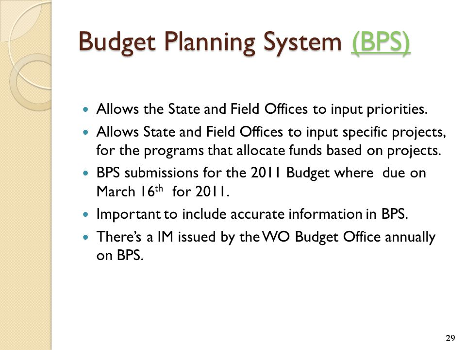 Budget Planning System (BPS) (BPS) Allows the State and Field Offices to input priorities.