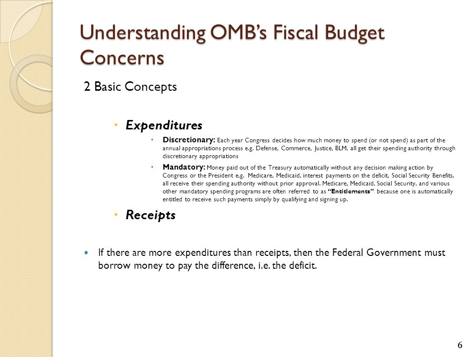 Understanding OMB's Fiscal Budget Concerns 2 Basic Concepts  Expenditures  Discretionary: Each year Congress decides how much money to spend (or not spend) as part of the annual appropriations process e.g.