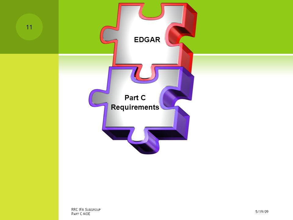 5/19/09 RRC IFA S UBGROUP P ART C MOE EDGAR Part C Requirements 11