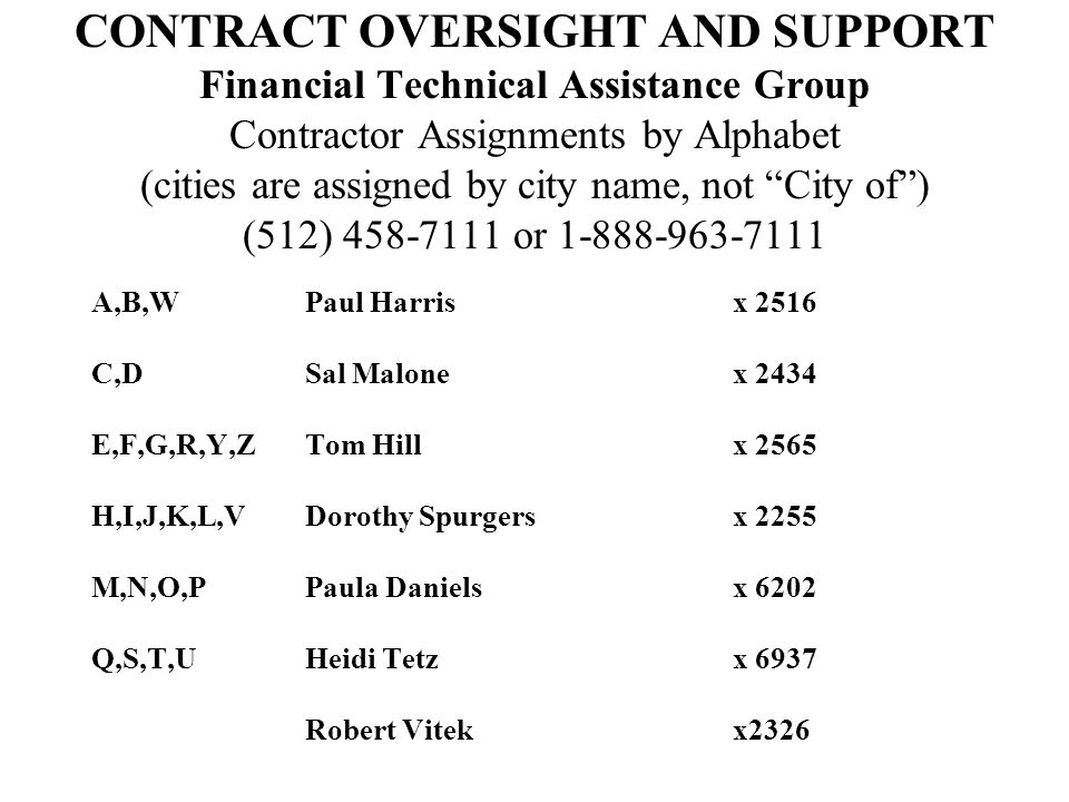 "CONTRACT OVERSIGHT AND SUPPORT Financial Technical Assistance Group Contractor Assignments by Alphabet (cities are assigned by city name, not ""City of"