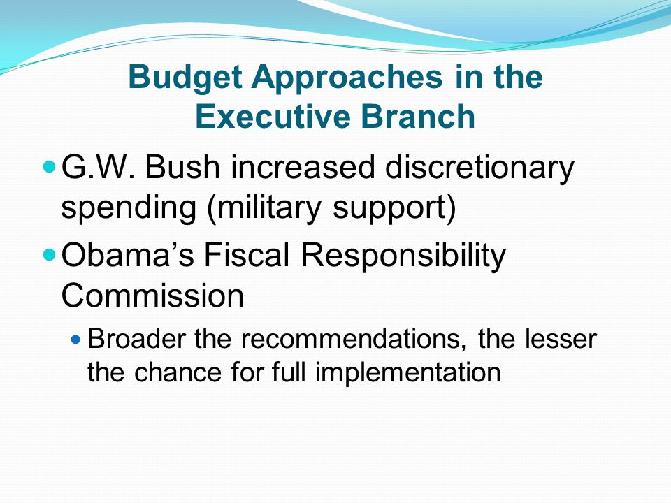 Budget Approaches in the Executive Branch G.W.