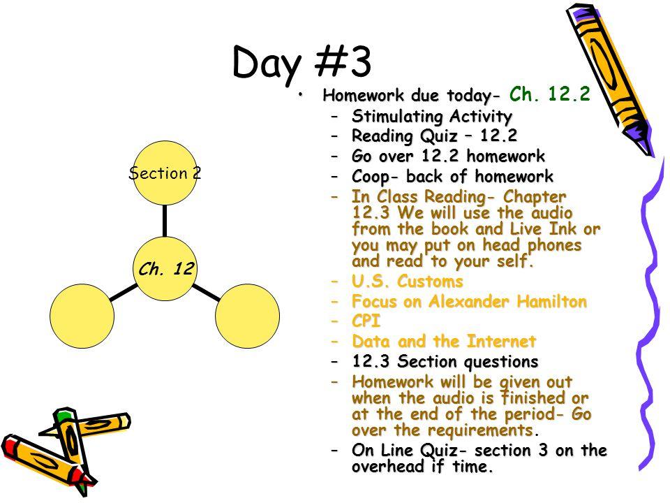 Day #3 Homework due today-Homework due today- Ch. 12.2 –Stimulating Activity –Reading Quiz – 12.2 –Go over 12.2 homework –Coop- back of homework –In C