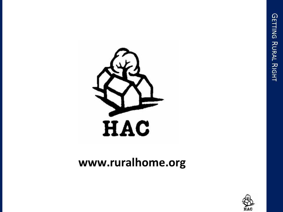 G ETTING R URAL R IGHT www.ruralhome.org