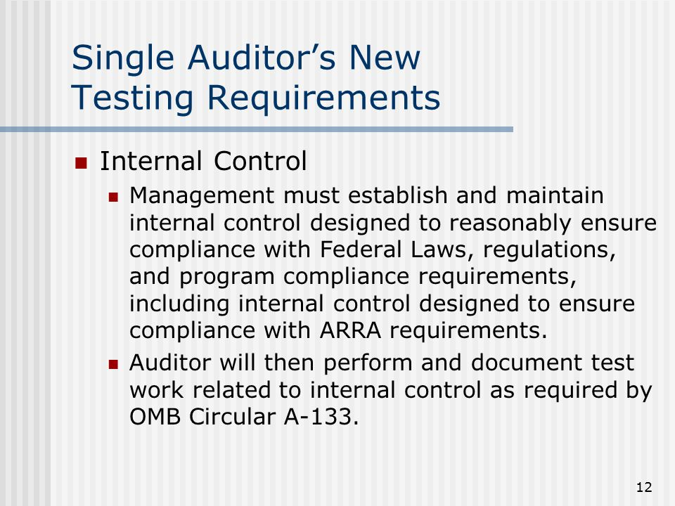 12 Single Auditor's New Testing Requirements Internal Control Management must establish and maintain internal control designed to reasonably ensure compliance with Federal Laws, regulations, and program compliance requirements, including internal control designed to ensure compliance with ARRA requirements.