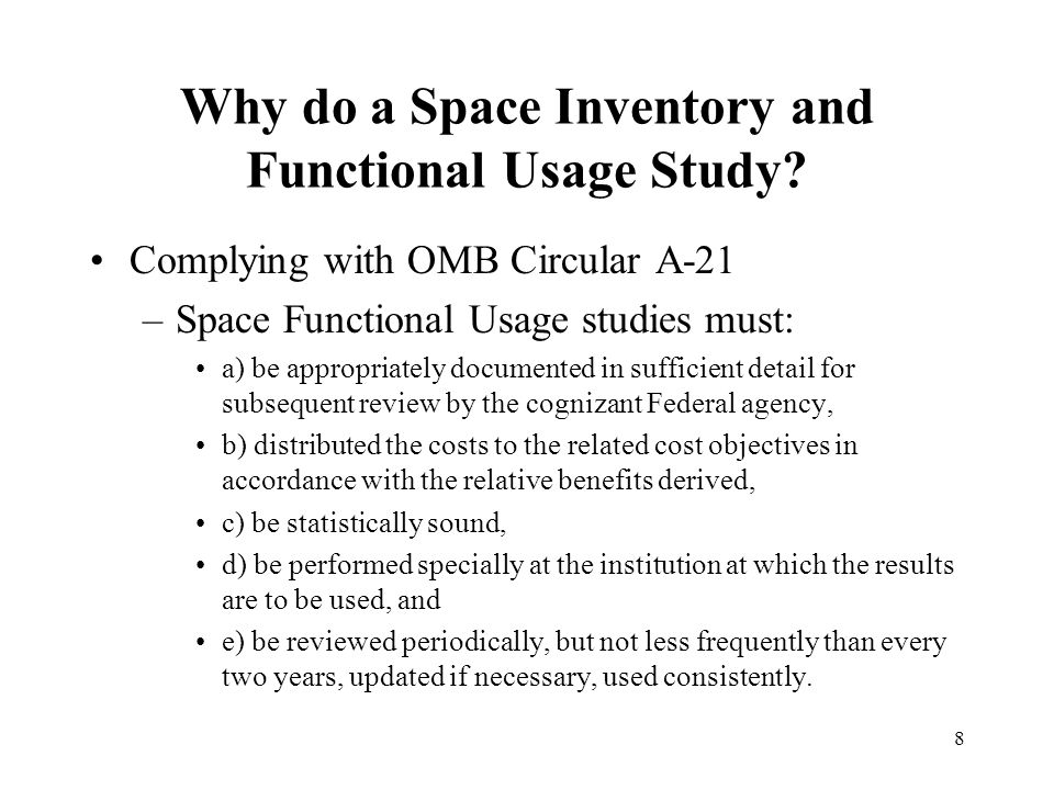 8 Why do a Space Inventory and Functional Usage Study.