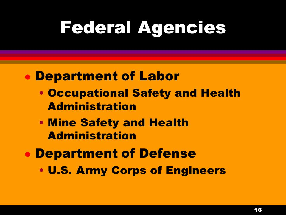 16 Federal Agencies l Department of Labor Occupational Safety and Health Administration Mine Safety and Health Administration l Department of Defense U.S.