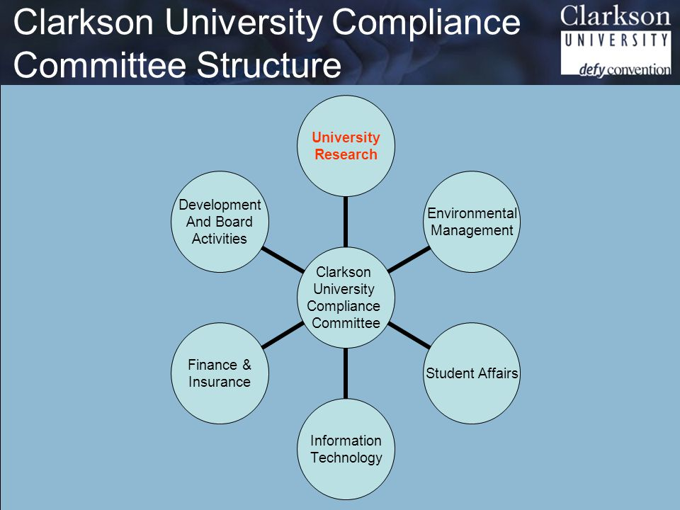 Research Compliance Regulations http://www.clarkson.edu/dor/compliance When sponsored funding is accepted by the institution we agree to comply with federal and state regulations: OMB A-21 - Cost Principles OMB A-110 - Uniform Administrative Requirements OMB A-133 - Audits Assurances, Certifications, & Representations