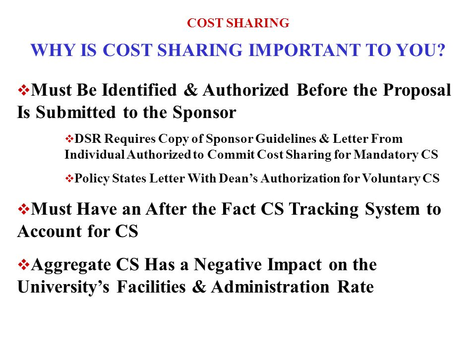 COST SHARING WHY IS COST SHARING IMPORTANT TO YOU.