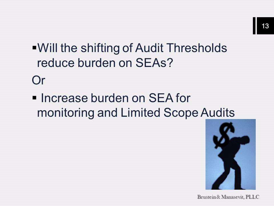 13 Brustein & Manasevit, PLLC  Will the shifting of Audit Thresholds reduce burden on SEAs.